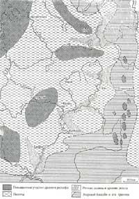 Карта из «Рельефа СССР» Ю.А.Мещерякова (Каменноугольный период)