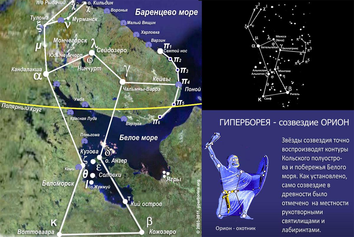 свидетельства эллина Гесихия о том, что гиперборейцы почитают небесный свод.  Рис. 5. Проекция созвездия Ориона на...